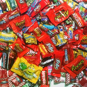 fall health - halloween candy pile